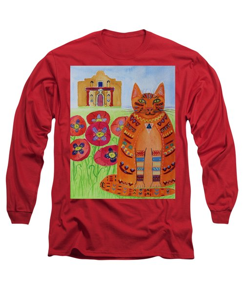 the Orange Alamo Cat Long Sleeve T-Shirt