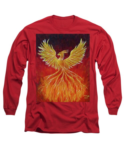 Long Sleeve T-Shirt featuring the painting The Phoenix by Teresa Wing