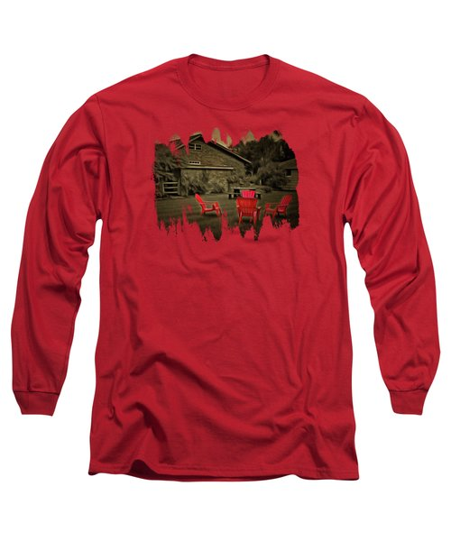 The Red Chairs In Neskowin Long Sleeve T-Shirt