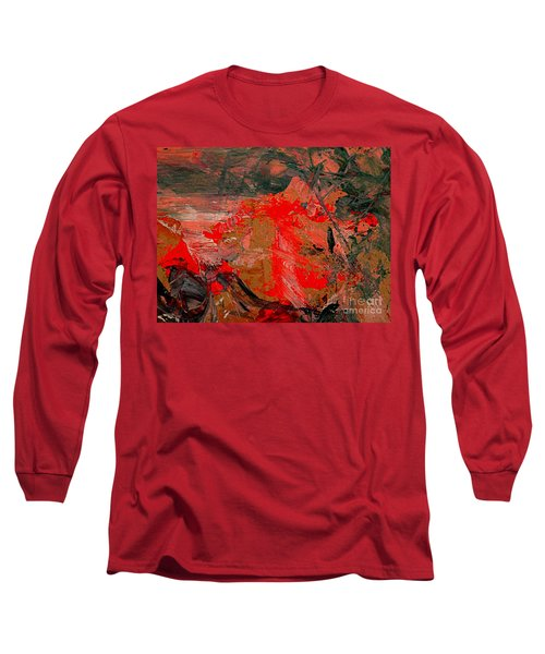 Long Sleeve T-Shirt featuring the painting The Red Garden by Nancy Kane Chapman