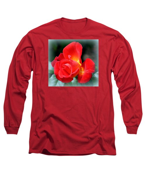 Long Sleeve T-Shirt featuring the photograph The Red Rose by AJ  Schibig