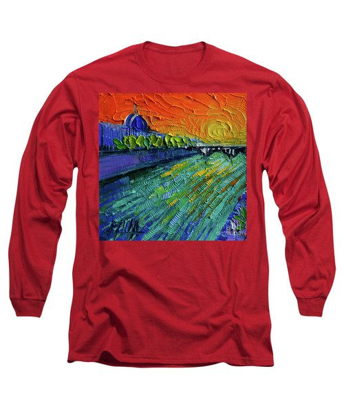 The Rhone River Palette Knife Oil Painting By Mona Edulesco Long Sleeve T-Shirt