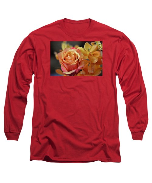 Long Sleeve T-Shirt featuring the photograph The Rose And The Orchid by Diana Mary Sharpton