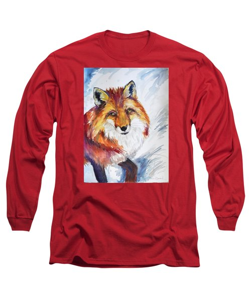 Long Sleeve T-Shirt featuring the painting The Snow Fox by P Maure Bausch