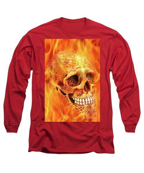 Flaming Skull Long Sleeve T-Shirt