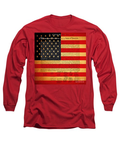 The United States Declaration Of Independence - American Flag - Square Long Sleeve T-Shirt