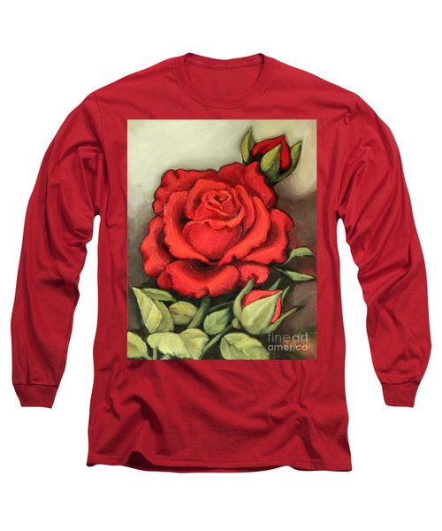 Long Sleeve T-Shirt featuring the painting The Very Red Rose by Inese Poga