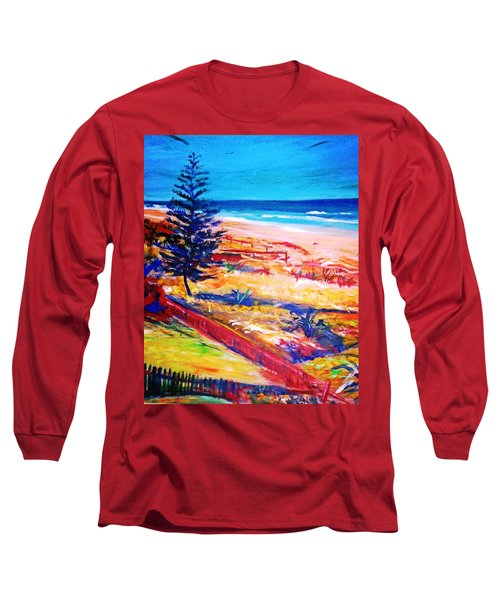 Long Sleeve T-Shirt featuring the painting The Winter Dunes by Winsome Gunning