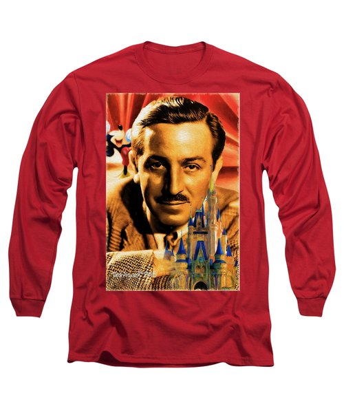 Long Sleeve T-Shirt featuring the painting The World Of Walt Disney by Ted Azriel