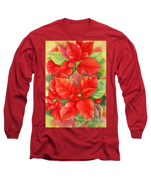Long Sleeve T-Shirt featuring the painting This Year's Poinsettia 1 by Inese Poga