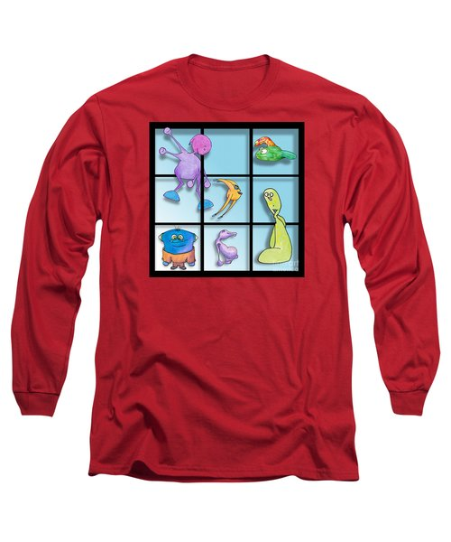 Three By Whee Long Sleeve T-Shirt by Uncle J's Monsters