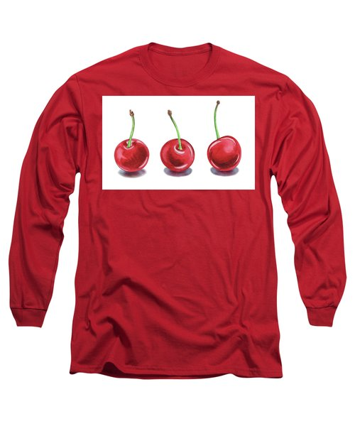 Long Sleeve T-Shirt featuring the painting Three Cherries Watercolor Painting by Irina Sztukowski