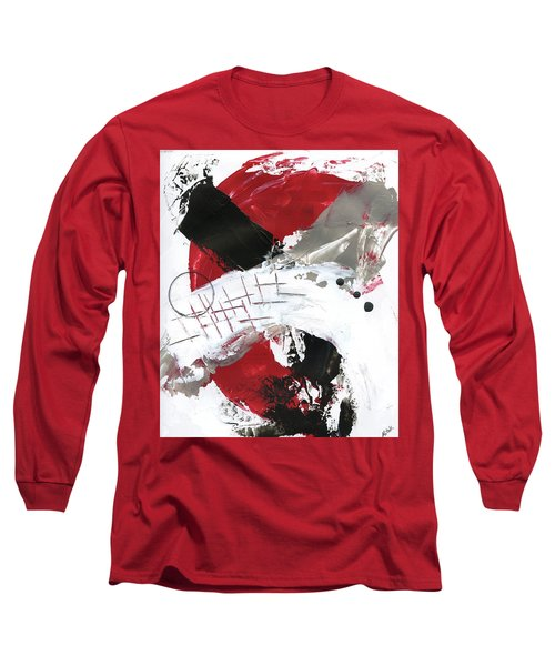 Long Sleeve T-Shirt featuring the painting Three Color Palette Red 2 by Michal Mitak Mahgerefteh