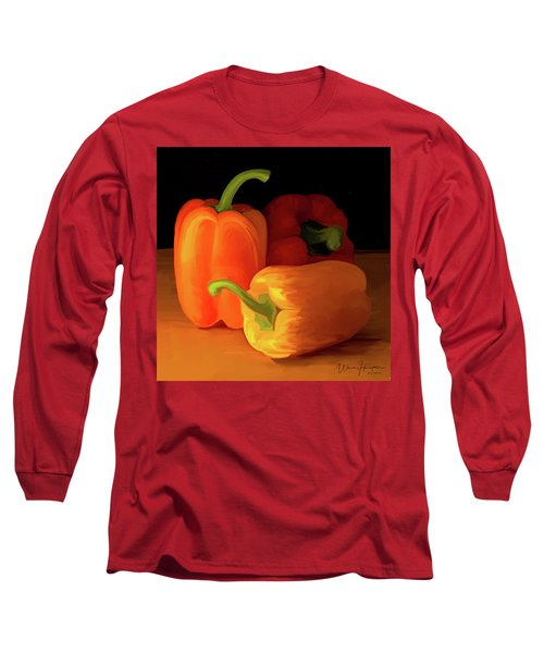 Three Peppers 01 Long Sleeve T-Shirt by Wally Hampton