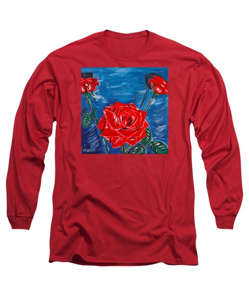 Three Red Roses Four Leaves Long Sleeve T-Shirt by Valerie Ornstein