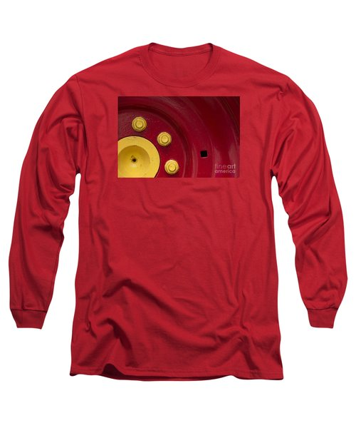 Three Yellow Nuts On A Red Wheel Long Sleeve T-Shirt by Wendy Wilton