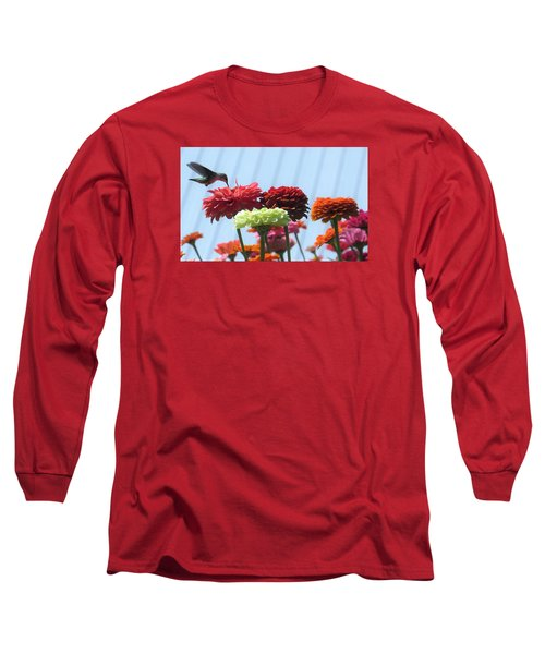 Thristy Hummer Long Sleeve T-Shirt by Jeanette Oberholtzer