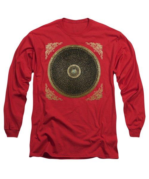Tibetan Thangka - Green Tara Goddess Mandala With Mantra In Gold On Red Long Sleeve T-Shirt
