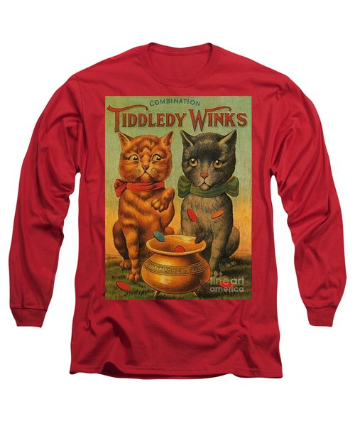 Tiddledy Winks Funny Victorian Cats Long Sleeve T-Shirt by Peter Gumaer Ogden Collection