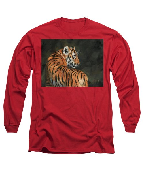 Long Sleeve T-Shirt featuring the painting Tiger At Night by David Stribbling