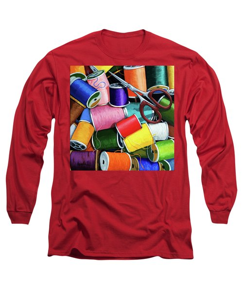 Long Sleeve T-Shirt featuring the painting Time To Sew - Colorful Threads by Linda Apple