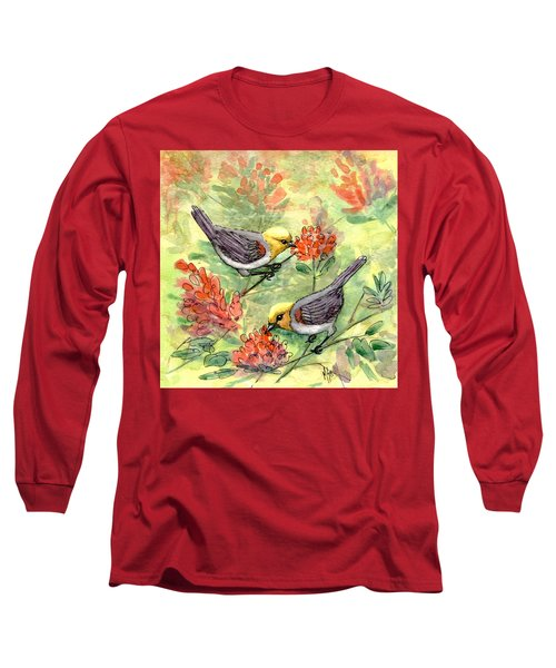 Long Sleeve T-Shirt featuring the painting Tiny Verdin In Honeysuckle by Marilyn Smith