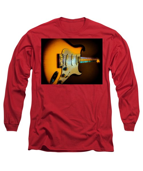 Long Sleeve T-Shirt featuring the digital art Tobacco Burst Stratocaster Glow Neck Series by Guitar Wacky