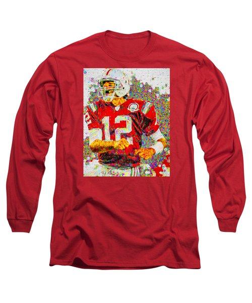 Tom Brady New England Patriots Football Nfl Painting Digitally Long Sleeve T-Shirt by David Haskett