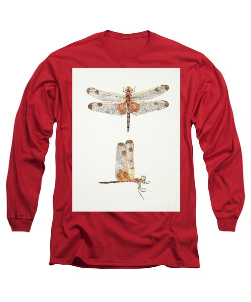 Top And Side Views Of A Male Calico Pennant Dragonfly Long Sleeve T-Shirt
