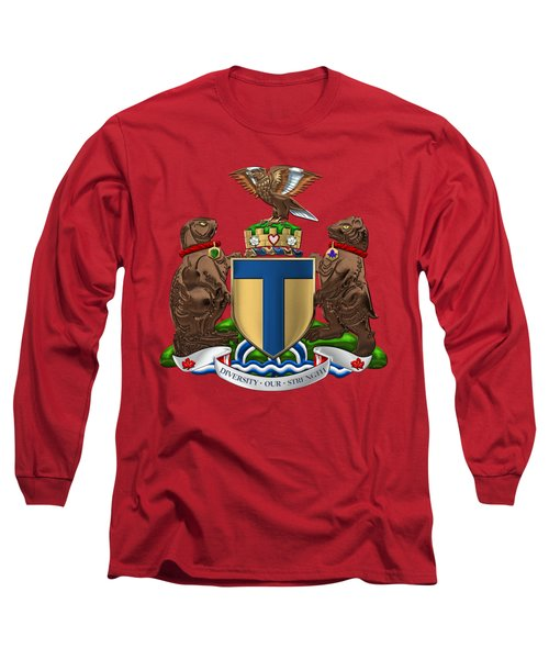 Toronto - Coat Of Arms Over Red Leather  Long Sleeve T-Shirt