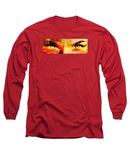 Long Sleeve T-Shirt featuring the digital art Torrid Eyes by Andrea Barbieri