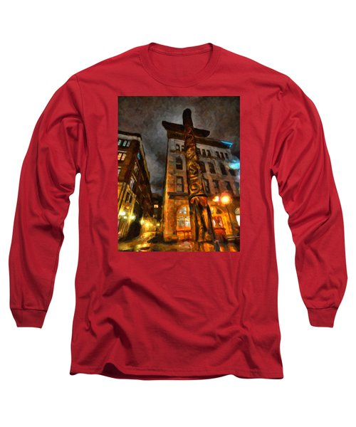 Totem In The City Long Sleeve T-Shirt by Andre Faubert