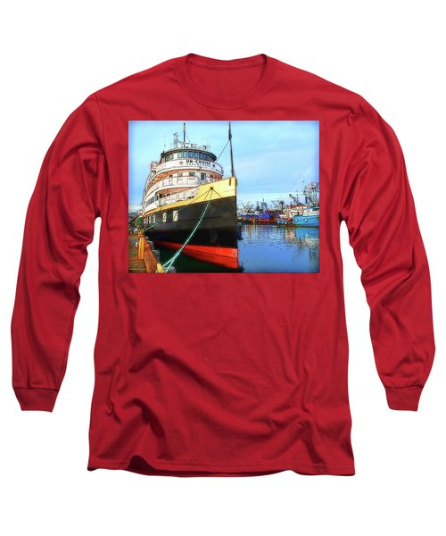 Tour Boat At Dock Long Sleeve T-Shirt by Tobeimean Peter