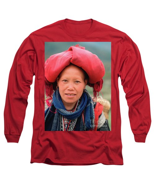 Traditional Fashion Of A Red Dzao Woman Long Sleeve T-Shirt