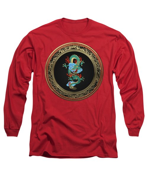 Treasure Trove - Turquoise Dragon Over Red Velvet Long Sleeve T-Shirt by Serge Averbukh
