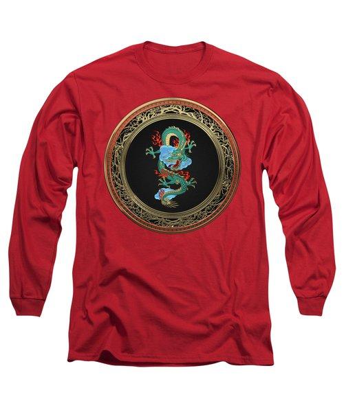 Treasure Trove - Turquoise Dragon Over Red Velvet Long Sleeve T-Shirt
