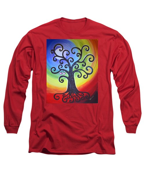 Long Sleeve T-Shirt featuring the painting Tree Of Life Love And Togetherness by Agata Lindquist
