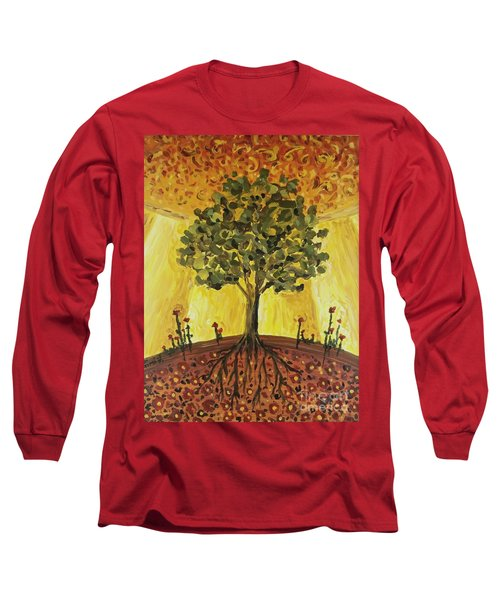 Long Sleeve T-Shirt featuring the painting Tree Of Life by Maria Langgle