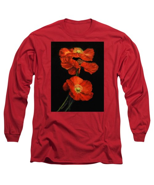 Long Sleeve T-Shirt featuring the painting Poppy Trio by Sandra Nardone