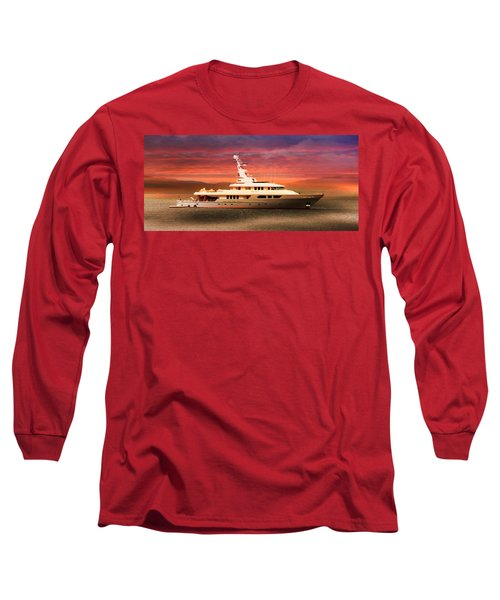Long Sleeve T-Shirt featuring the photograph Triton Yacht by Aaron Berg