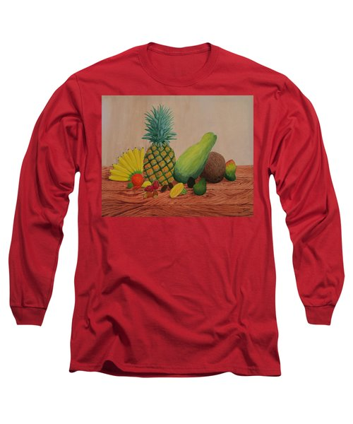 Long Sleeve T-Shirt featuring the painting Tropical Fruits by Hilda and Jose Garrancho