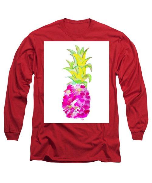 Tropical Fuchsia And Gold Long Sleeve T-Shirt