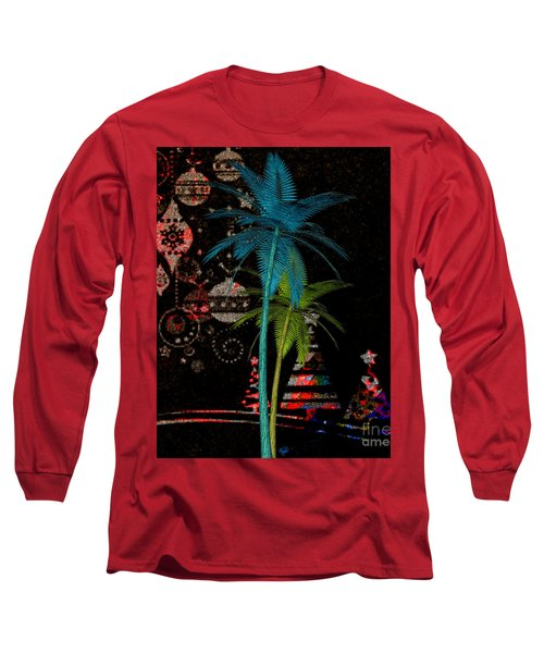 Long Sleeve T-Shirt featuring the digital art Tropical Holiday Red by Megan Dirsa-DuBois