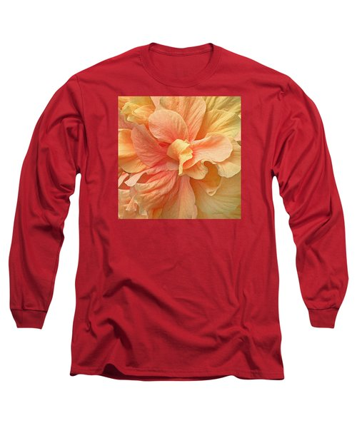 Tropical Peach Hibiscus Flower Long Sleeve T-Shirt by Deborah Smith