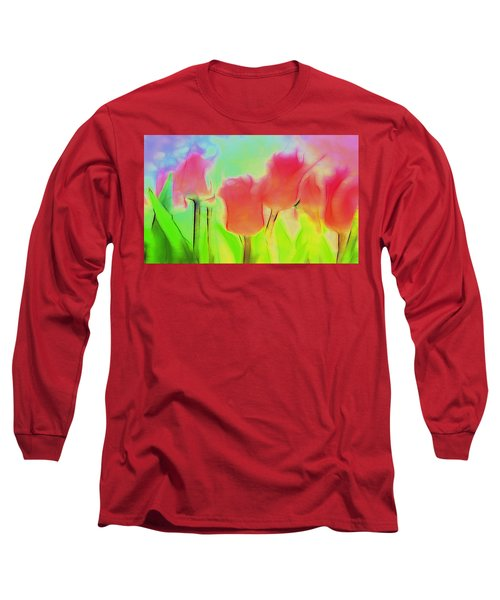 Tulips In Abstract 2 Long Sleeve T-Shirt by Cathy Anderson