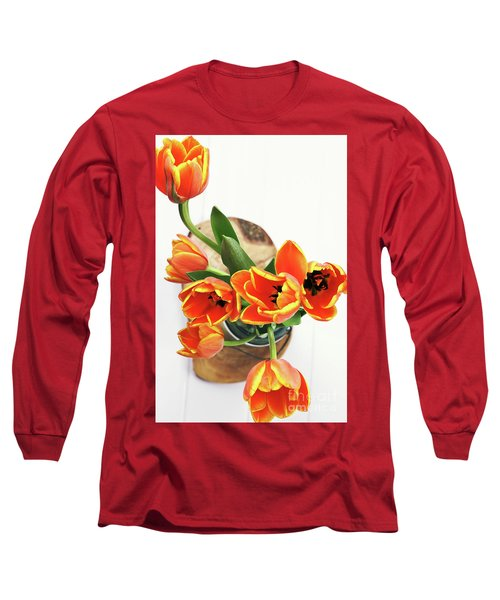 Long Sleeve T-Shirt featuring the pyrography Tulips by Stephanie Frey