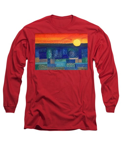 Long Sleeve T-Shirt featuring the painting Turquoise Sunset by Norma Duch