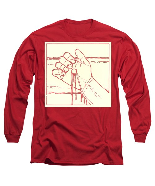 Long Sleeve T-Shirt featuring the drawing Twelfth Station- Jesus Is Raised Upon The Cross And Dies  by William Hart McNichols