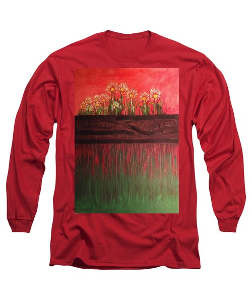Twelve Daises In Window Box Long Sleeve T-Shirt