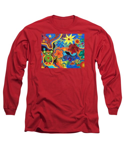 Long Sleeve T-Shirt featuring the painting Bluebird Of Happiness by Marina Petro